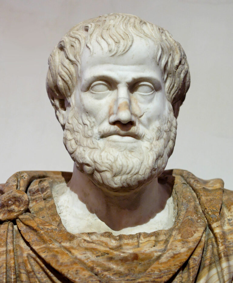 Statue of Aristotle in Marble, the alabaster mantle is a modern addition.