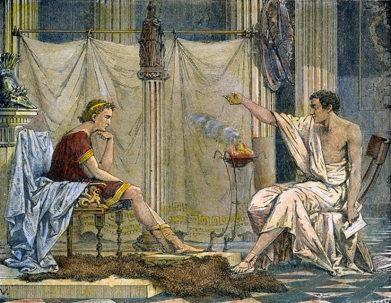 Aristotle and Alexander seated facing each other. Aristotle instructs Alexander.