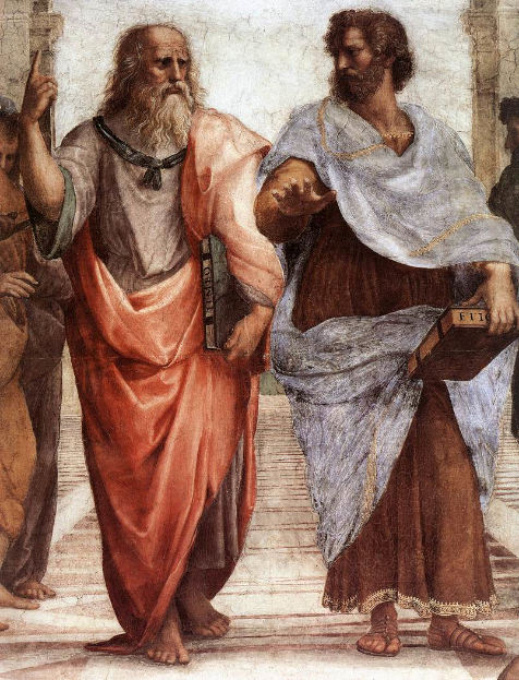 Aristotle with Plato in the The School of Athens - Close up