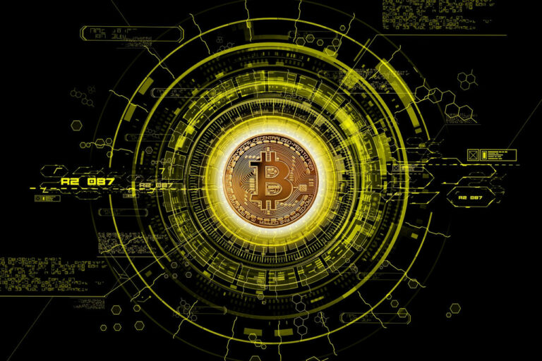 Bitcoin symbol $B shown as holding the key to a futuristic techno vault