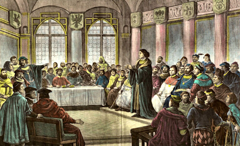 Copernicus in the assembly in Grudziadz, presenting his treatise on Money