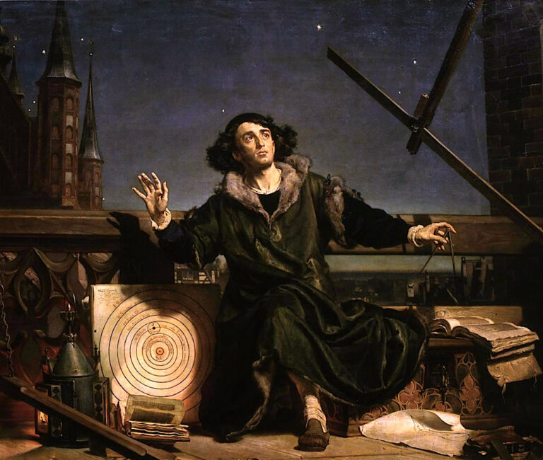 Copernicus observes the night sky in awe!