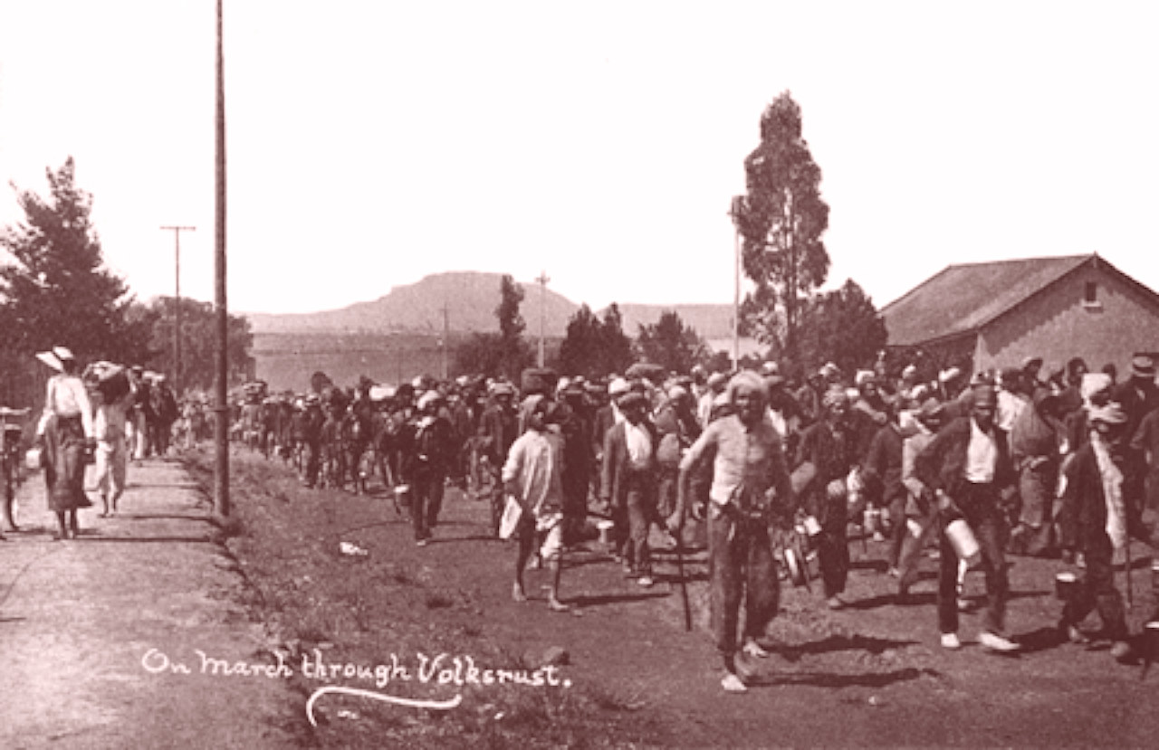 """Transvaal Protest March organized by Gandhi, October-November 1913. """"On march through Volksrust"""""""
