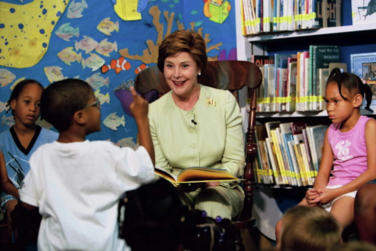 Laura Bush interacting with children in the library
