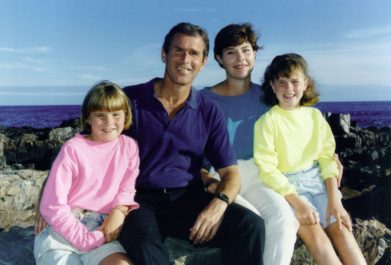 Laura Bush, with her family