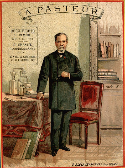 Louis Pasteur, standing, holding eyeglasses, with chemical apparatus and books. In his left lapel Pasteur wears the badge of the Légion d'Honneur
