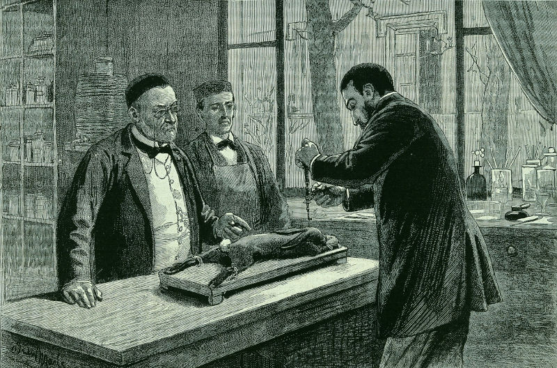 Pasteur in his lab with his colleague who is doing the experiment
