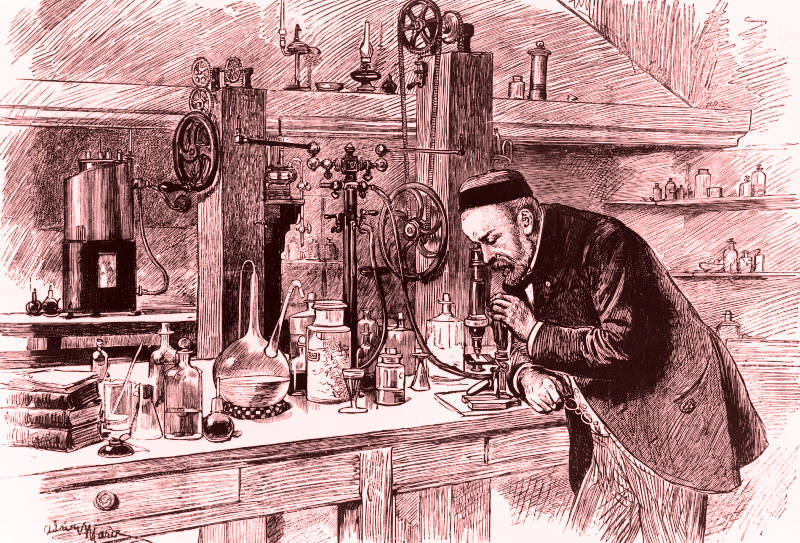 Portrait of Louis Pasteur in his laboratory using a microscope.