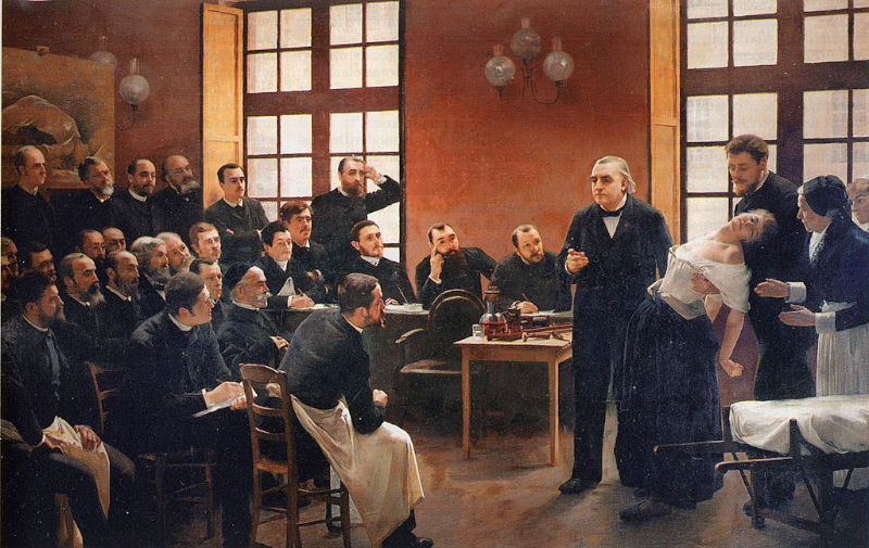 André Brouillet's vast and dramatic oil painting of Charcot lecturing, Blanche Wittmann in a hypnotic trance, and the students and colleagues watching with fascination, was exhibited at the Paris Salon in 1887. The present small etching of the composition was suitable for consultant neurologists such as Sigmund Freud to frame and hang in their consulting rooms as an inspiration.