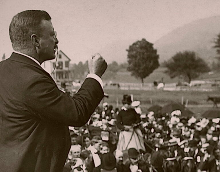 President Theodore Roosevelt inspires the crowd